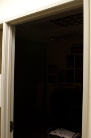 Looking into my darkened office