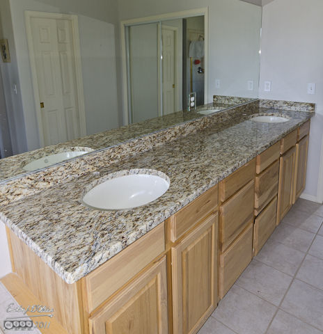 Main bathroom counters (Santa Cecilia granite)