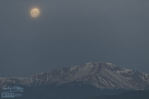 Full moon over Pikes Peak