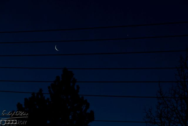 Moon and star on wires