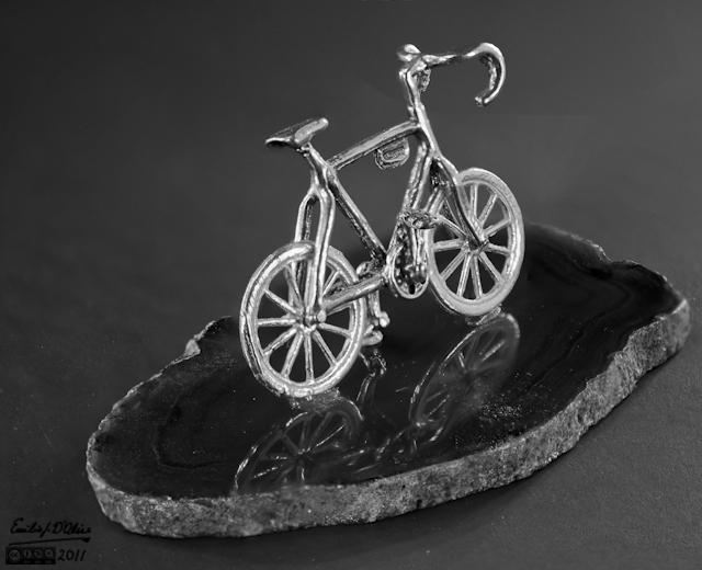 Miniature bike - Macro Photography + Blended Layers - B&W