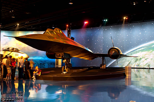 The SR-71B Blackbird trainer is a popular display