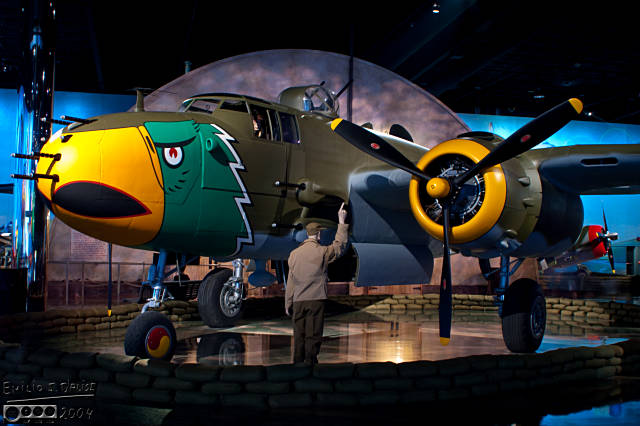 The North American B25J Mitchel . . . and Charley, the ground crew person, signaling Lance.