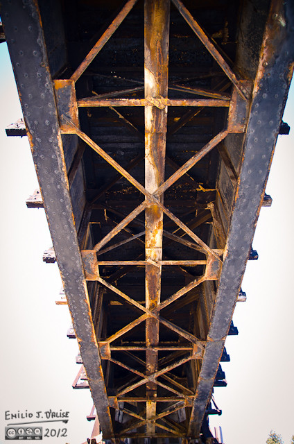 Shot from under the trestle . . . daring the black rain