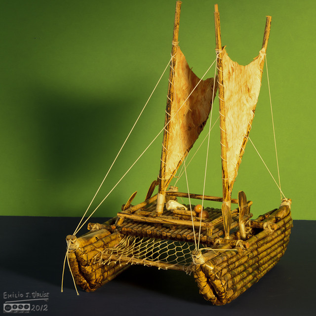A model trying to represent the idea of a Waka - a Maori migration canoe.