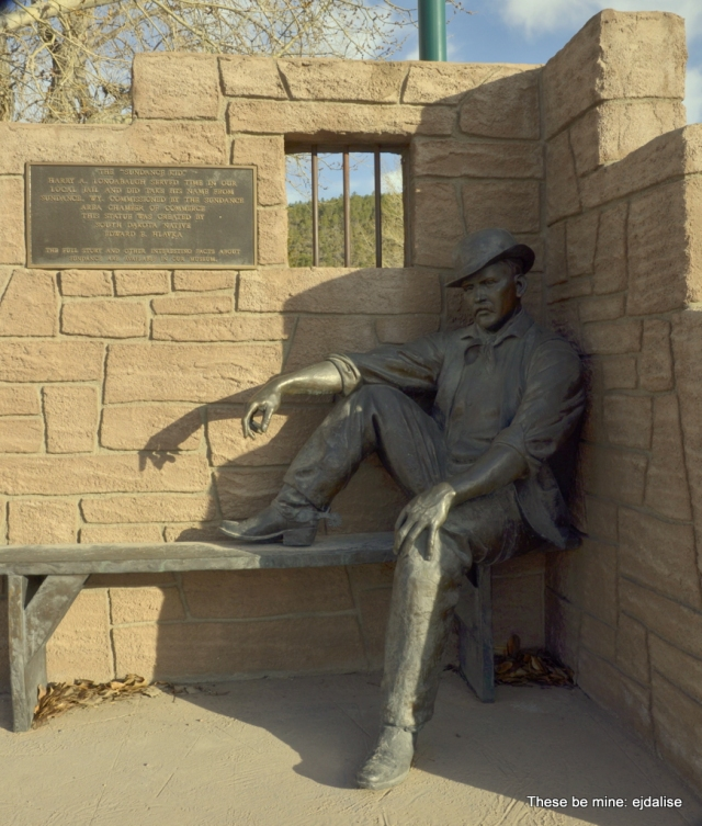 . . . The statue of The Sundance Kid in front of the Sundance, WY, Courthouse.  That's him in jail for horse thievery; it's where he decided to change his name to The Sundance Kid