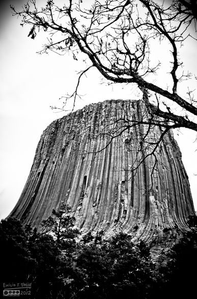 Black and White treatment of Devil's Tower from its perimeter path