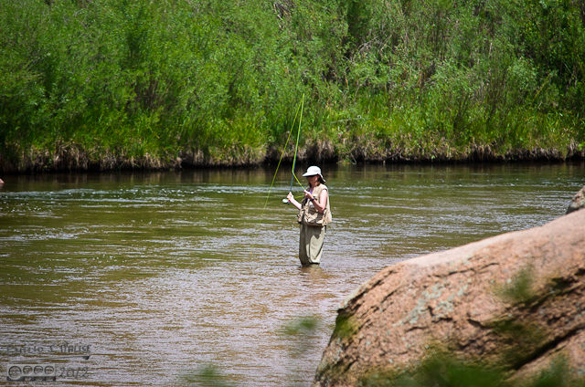 You don't often see anglerettes . . . especially ones fishing alone.