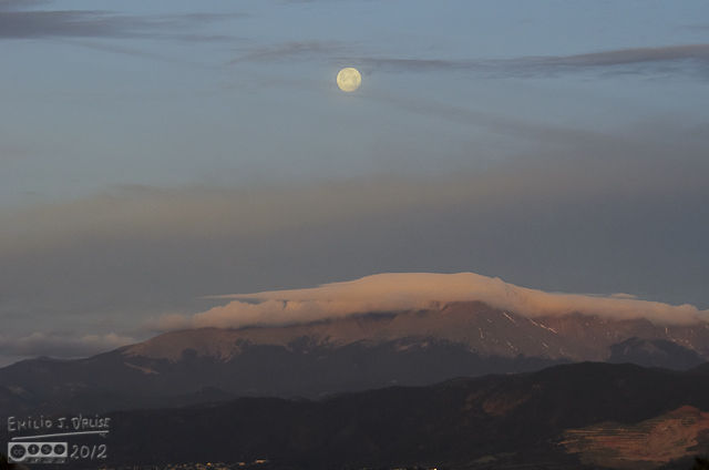 Pikes Peak was also trying to offer the moon a hiding place from the brightness of the coming day.
