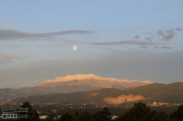. . . but it was obvious the moon would drop behind the clouds long before setting behind Pikes Peak.