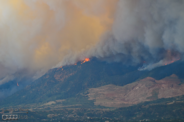 4:51:19 p.m. - Federal Drive, just off of Interquest Parkway / Hwy. 83 - Many of the small peaks were by now on fire.