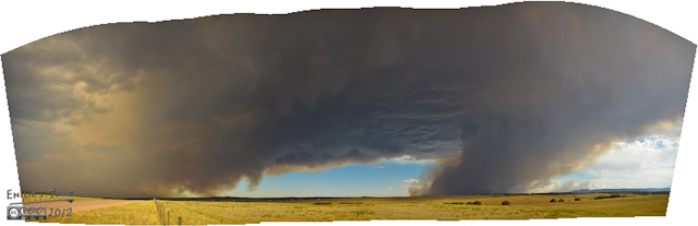 5:20:27 p.m. - Panorama - County Line Road near Furrow Rd - The smoke was heading North, and would have settled over where we live, but an Easterly wind actually turned it away from us at approximately this location.