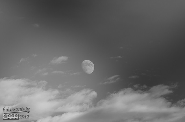 The Moon and Clouds in B&W