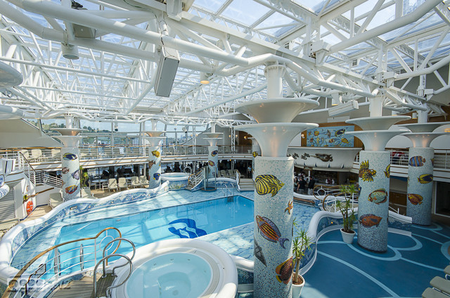 Once again, passing through the indoor pool area on the way to the back of the boat.