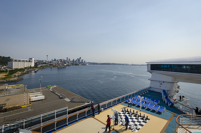 The other side of the deck, another view of the night club, and Seattle's skyline in the distance.