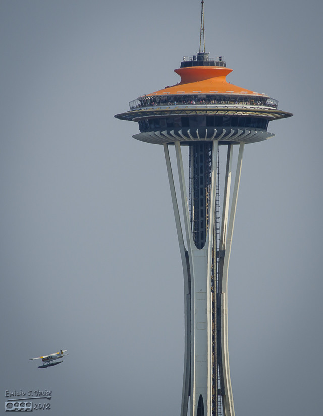 A close-up of The Space Needle, complete with one of the tour planes that kept buzzing the harbor.