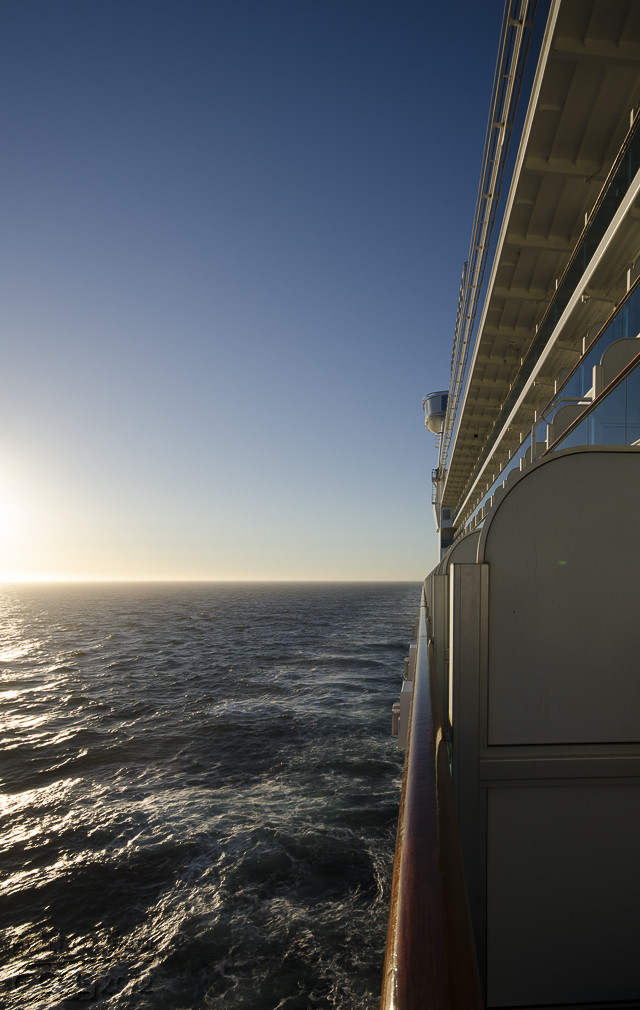 """View from our balcony, looking aft (that means """"toward the back"""")."""