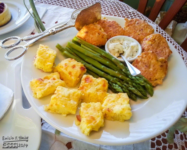 The savory dishes - mini salmon cakes, asparagus, quiche.