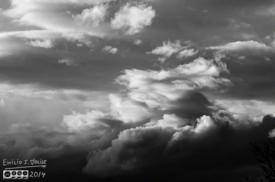 Clouds, as shot, Lightroom B&W conversion