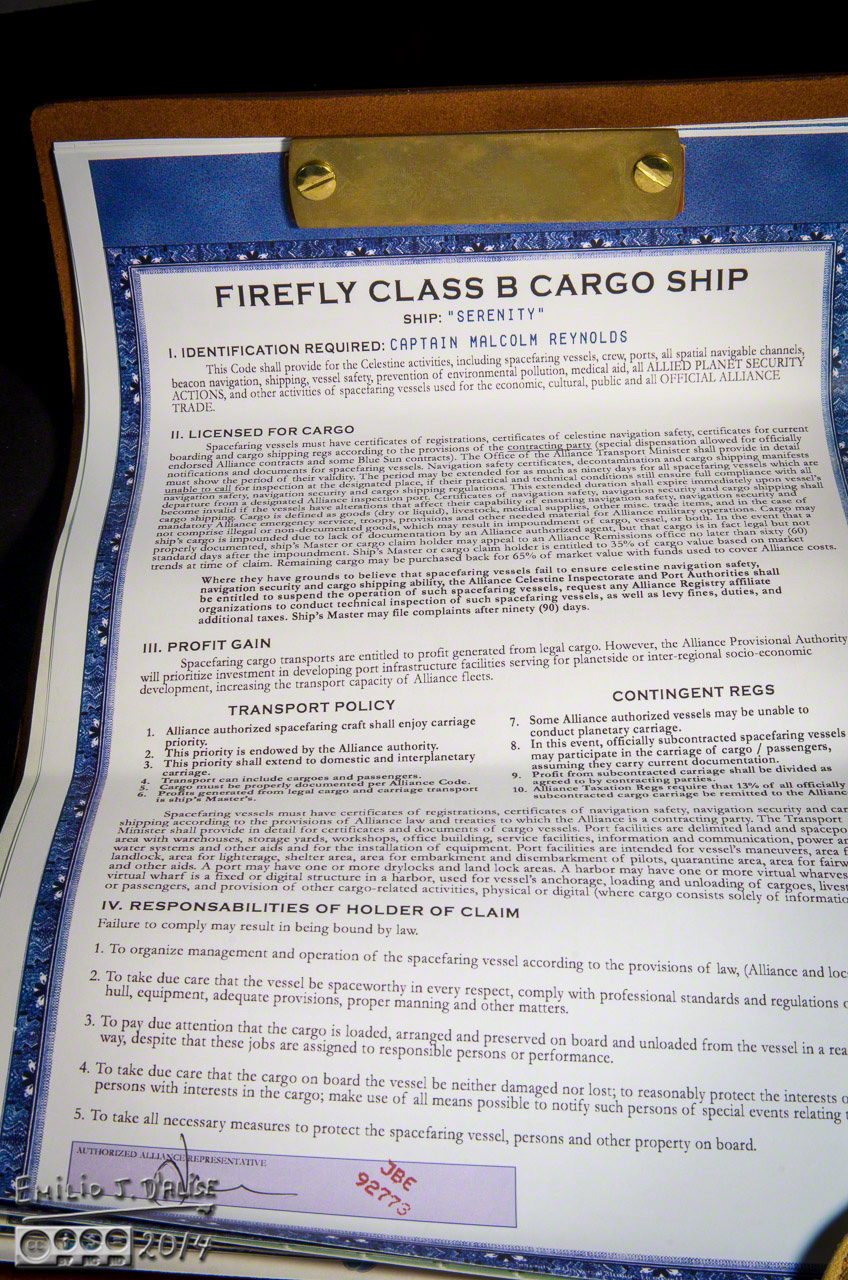 Serenity, Ship Papers,