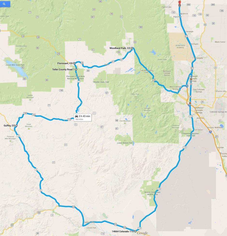 Sunday 07Sep2014 Guffey circle Route