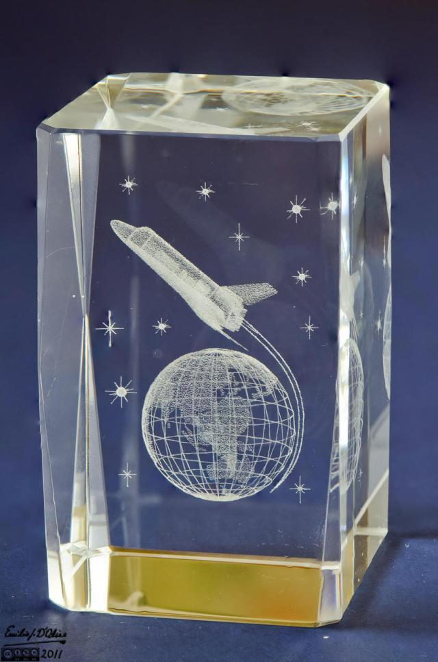 """1.5""""x2""""x2.5"""" block commemorating the Space Shuttle - blended layers"""