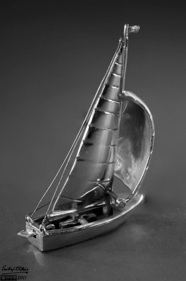 miniature sailboat - blended layers (B&W)