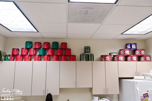 My arrangement of empty coffee and cookies cans