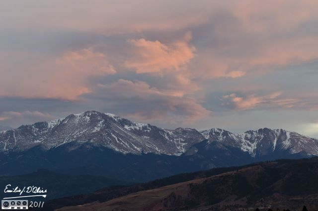 Tail end of sunset colors over Pikes peak
