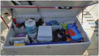 Chests that are bolted to the deck secure implements and supplies.
