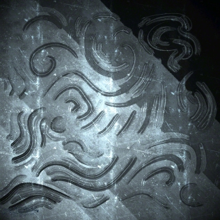 Finger Drawn Patterns on Frosty Window with Light Shining Through