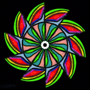 Watermelon Wheel In A Starless Night Sky