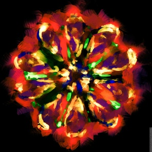 How a spider might draw an exploding firework if spiders could draw