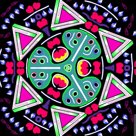 Fancy Escher, Rose Petals, and Life Savers Spinner at Night