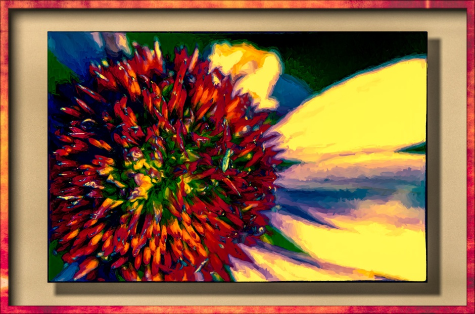 A cone flower artified