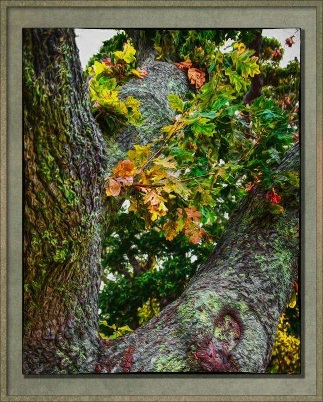 Artified tree trunk and leaves