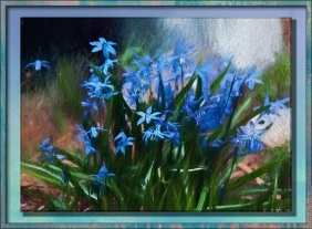 Violets turned into a framed painting.