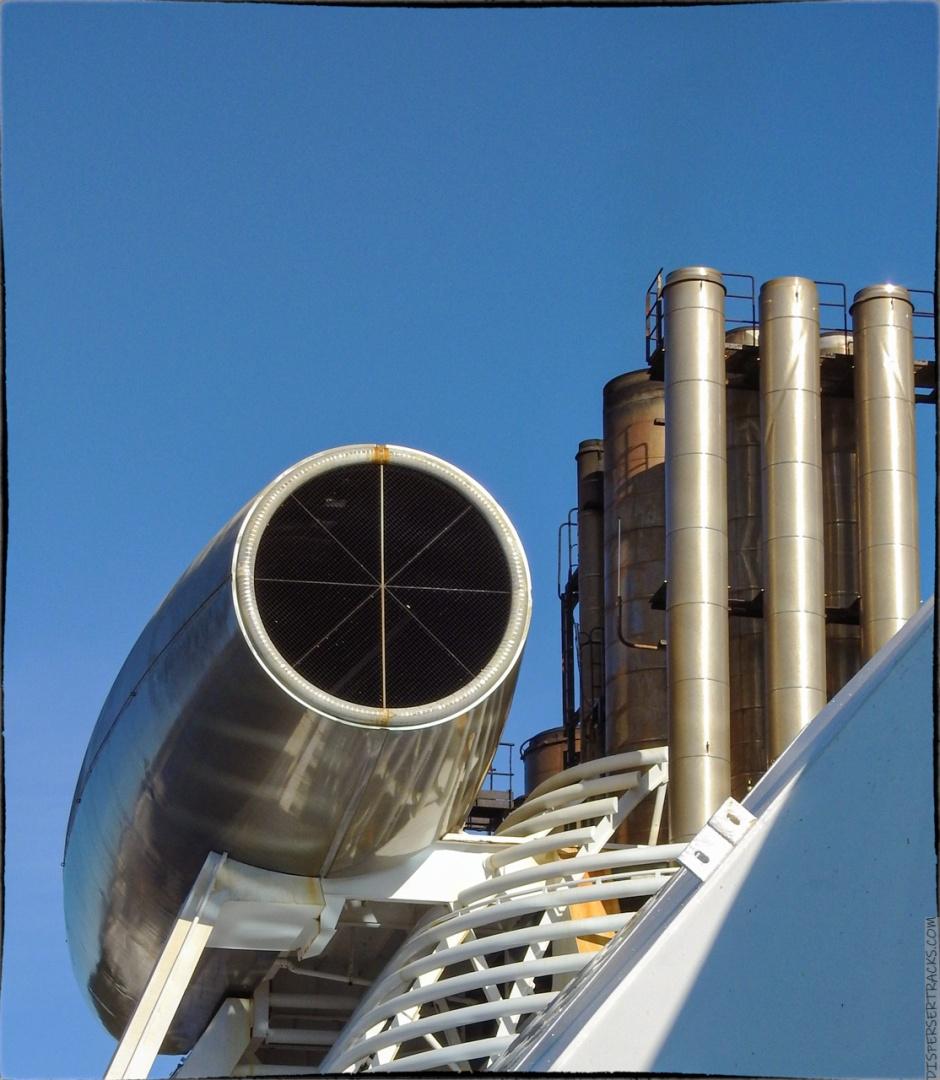 The Coral Princess distinctive jet-engine-like smokestack