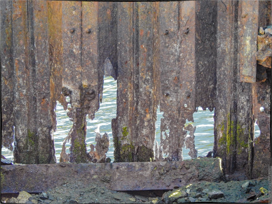 A rusted-out seawall