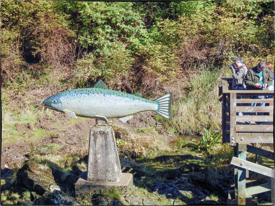 Ketchikan Creek observation platform and salmon statue