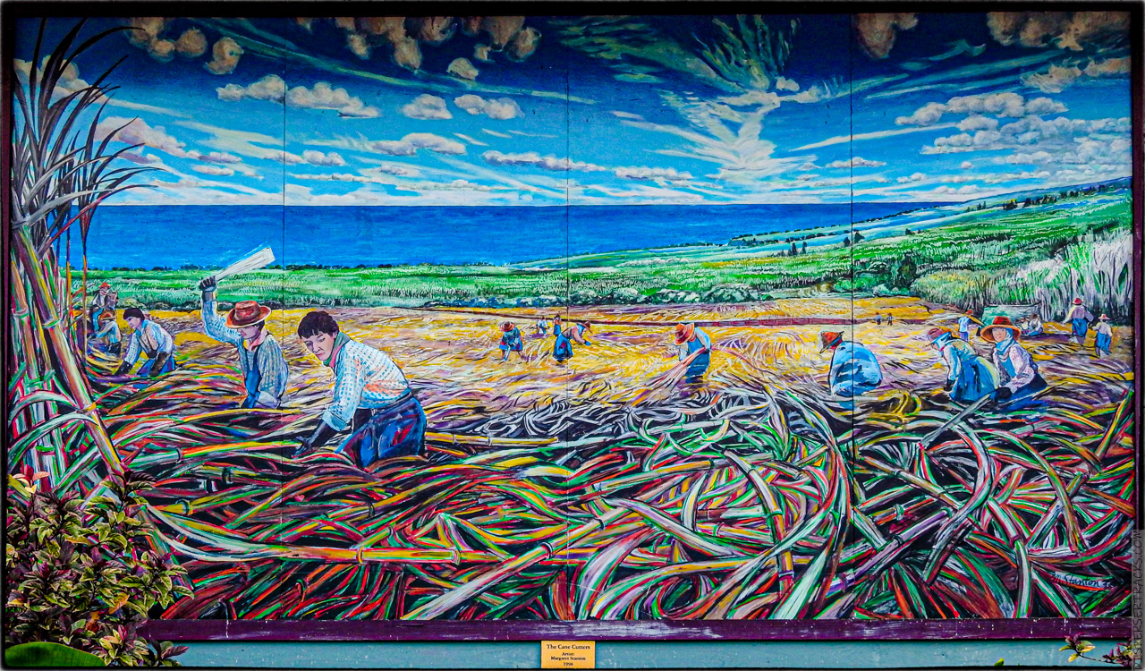 "mural by Margaret Stanton, ""The Cane Cutters"" - 1998"