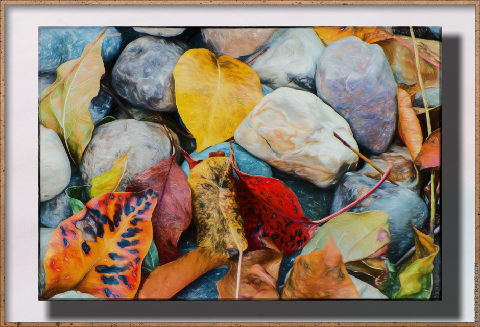Artified Photos of fall leaves on rocks