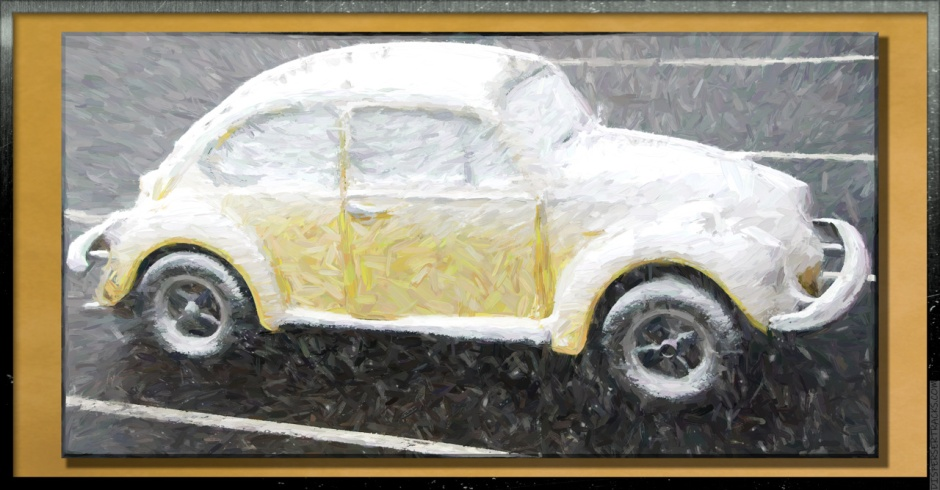 Yellow VW Beatle covered in snow as a painting