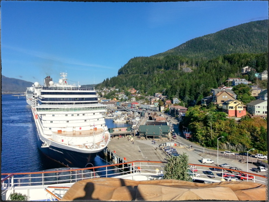 View of other cruise ships in Ketchikan from the deck of the cruise ship Coral Princess