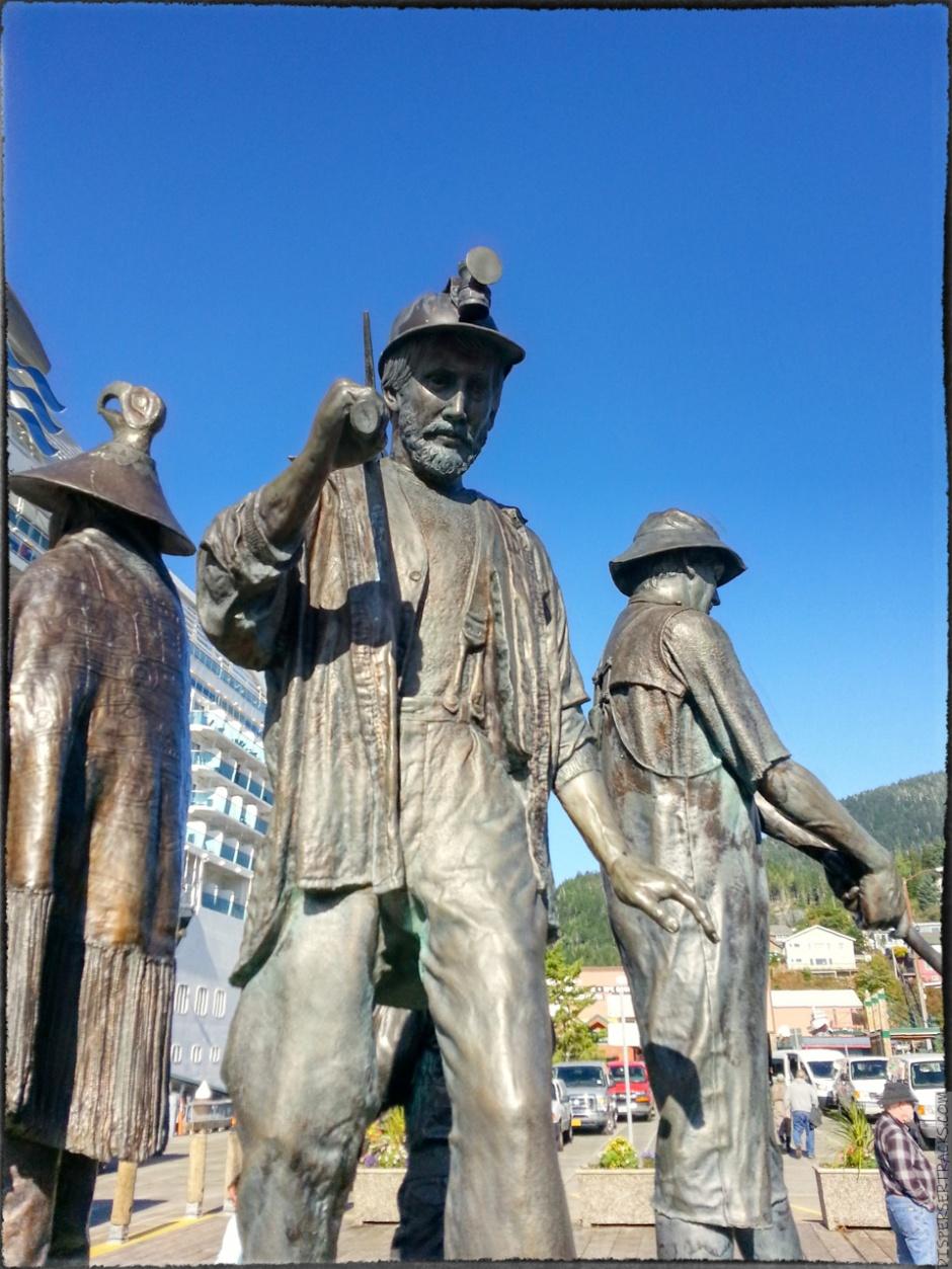 statues in Ketchikan waterfront boardwalk