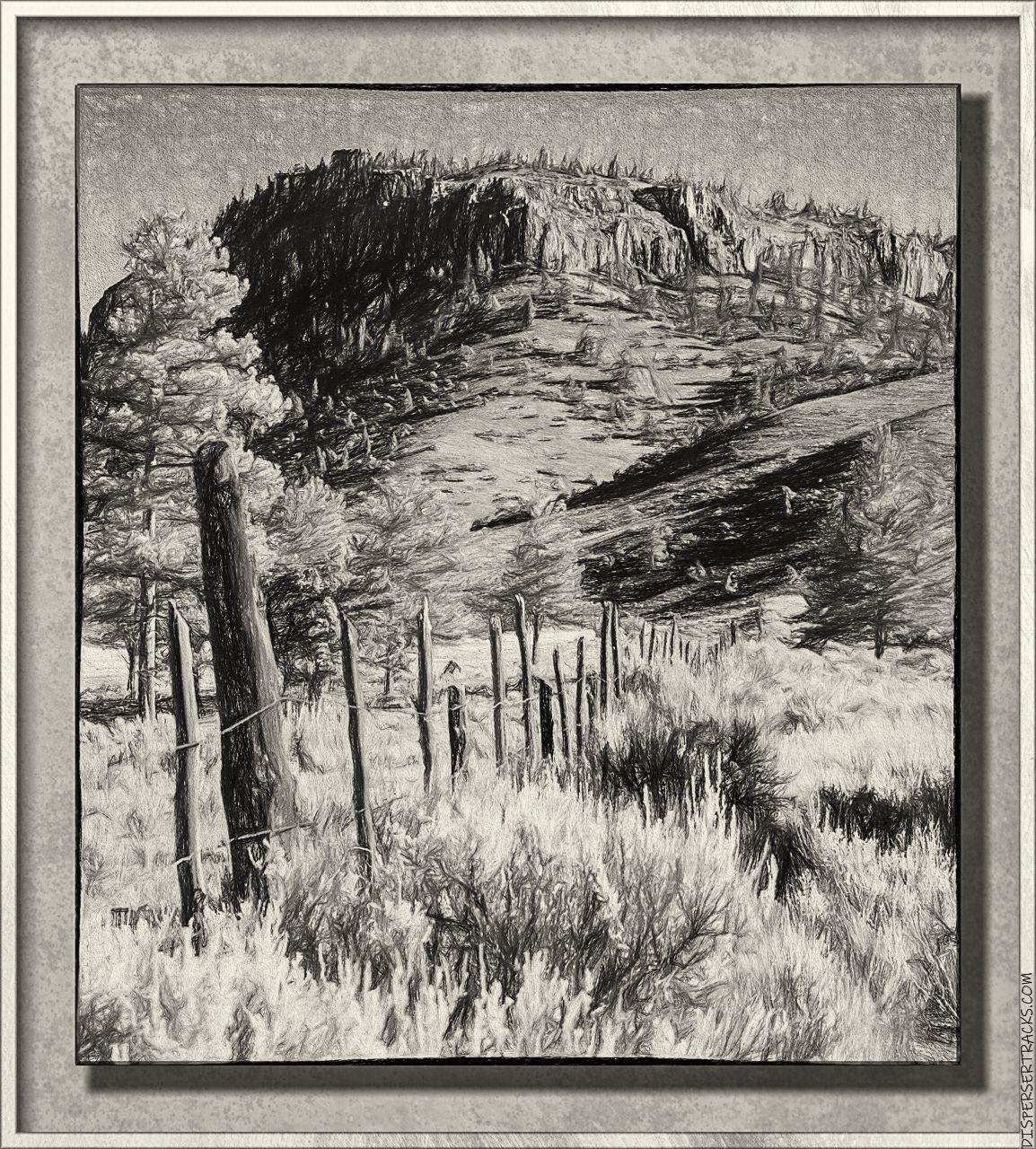 Western scenery in monochrome