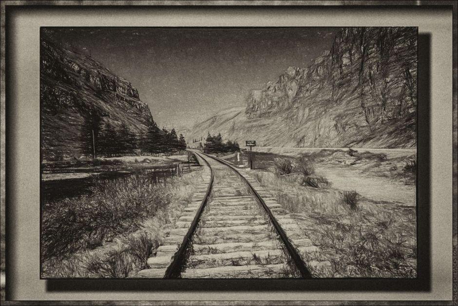 Railroad and river in monochrome