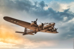 Boeing B-17 Flying Fortress — processed with Luminar AI and its Sky Replacement feature.