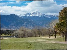 Pikes Peak from Patty Jewett Golf Club, Colorado Springs.